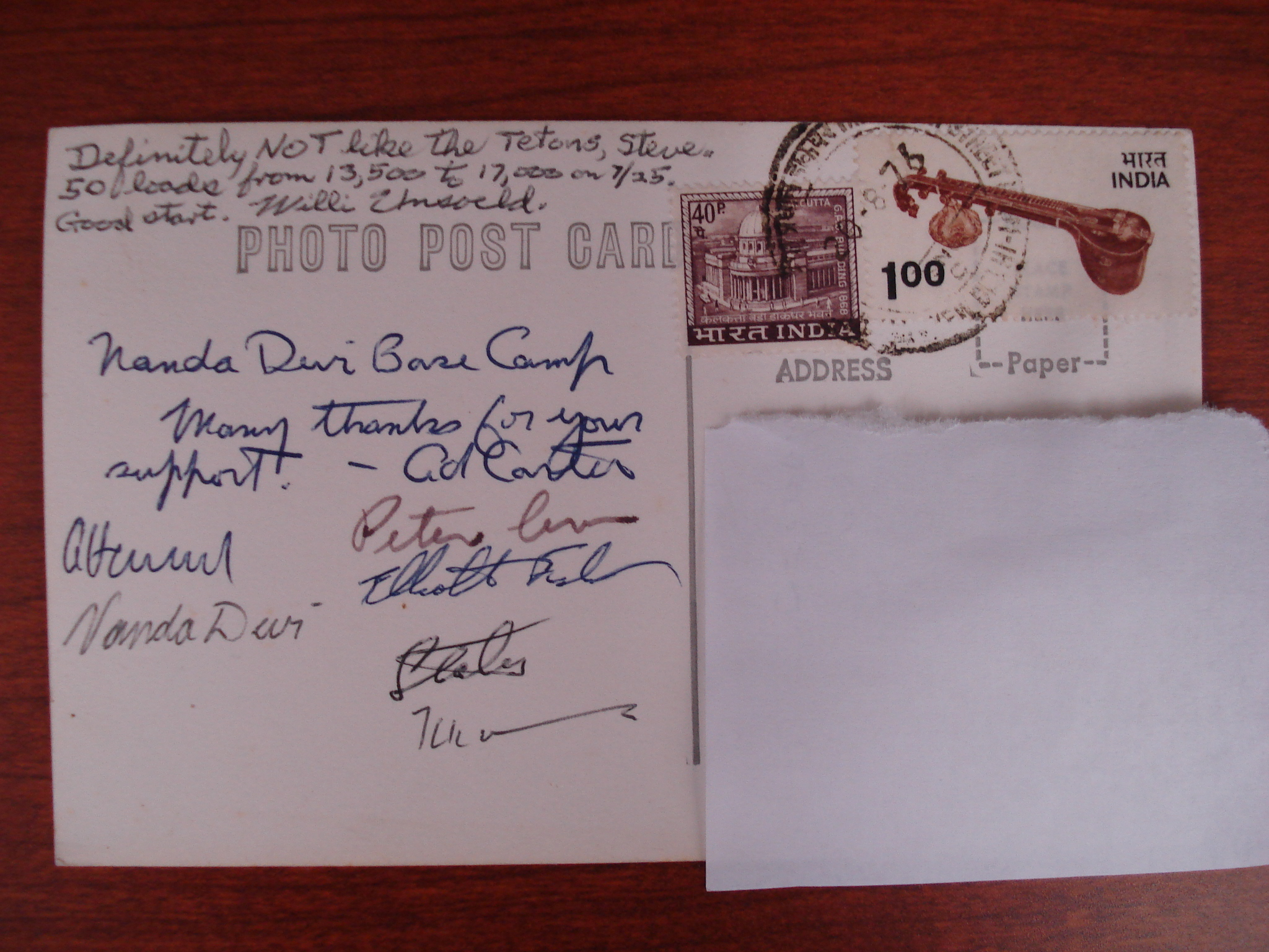 Nanda Devi postcard (back), signed by members of the 1976 expedition